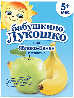 Бабушкино лукошко сок яблоко/банан 5+ с мякотью 200мл