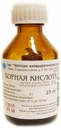 Борная кислота 3% 25мл раствор для местного применения спиртовой