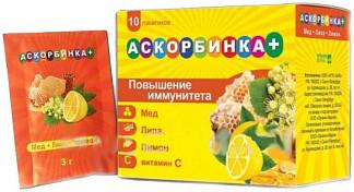 Аскорбинка + мед/липа/лимон порошок 10 шт.