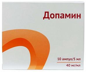 Допамин 40мг/мл 5мл 5 шт. концентрат для приготовления раствора для инфузий