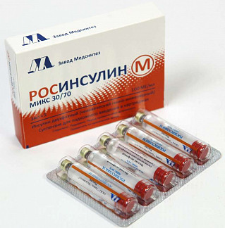 Росинсулин м микс 30/70 100ме/мл 3мл 5 шт. суспензия для подкожного введения картридж