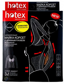 Хотекс майка-корсет корректирующая черная длинный рукав