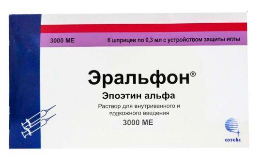 Эральфон 3000ме 0,3мл 6 шт. раствор для внутривенного и подкожного введения шприц сотекс, фото №1
