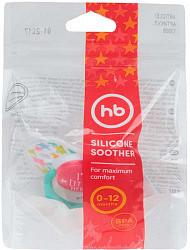 Хеппи бэби соска-пустышка силиконовая симметричной формы с колпачком 0-12 месяцев арт.13008