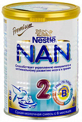 Нестле нан премиум 2 смесь молочная с бифидумбактериями 400г