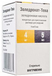 Золедронат-тева 4мг/5мл 5мл 1 шт. концентрат для приготовления раствора для инфузий