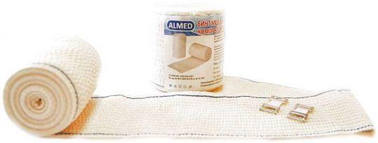 Альмед бинт эластичный медицинский компрессионный вр 80ммх1,5м с застежкой, фото №1