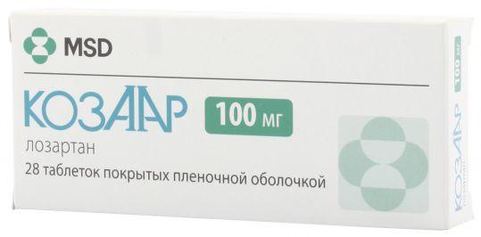 Козаар 100мг 28 шт. таблетки покрытые пленочной оболочкой, фото №1