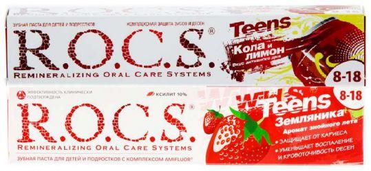 Рокс тинс зубная паста для школьников кола-лимон+зубная паста земляника 74г 2 шт., фото №1
