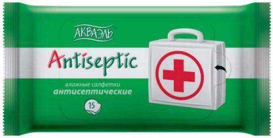 Салфетки акваэль 15 шт. антисептик, фото №1