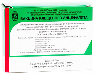 Вакцина клещевого энцефалита 1 доза (0,5мл) 1мл 5 шт.