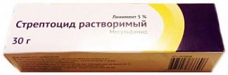 Стрептоцид растворимый 5% 30г линимент
