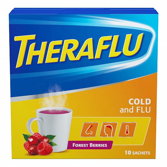 Терафлю от гриппа и простуды, порошок, со вкусом лесных ягод, 10 пакетиков, фото №5