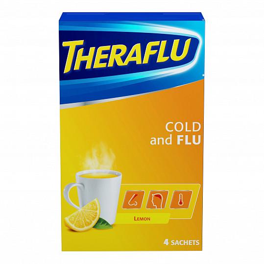 Терафлю от гриппа и простуды, порошок, со вкусом лимона, 4 пакетика, фото №4