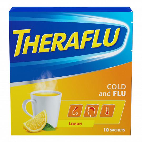 Терафлю от гриппа и простуды, порошок, со вкусом лимона, 10 пакетиков, фото №5