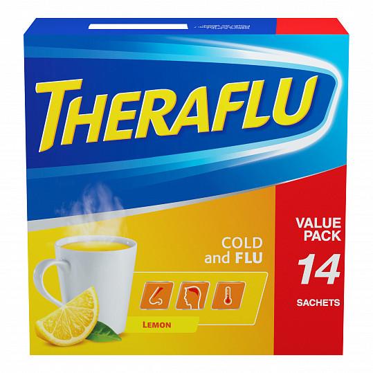 Терафлю от гриппа и простуды, порошок, со вкусом лимона, 14 пакетиков, фото №5