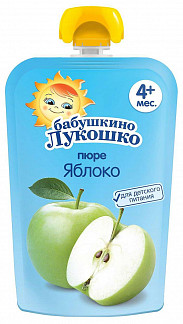 Бабушкино лукошко пюре яблоко 4+ 90г