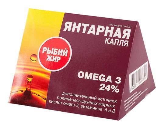 Рыбий жир янтарная капля капсулы омега-3 100 шт., фото №1