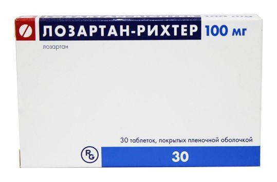Лозартан-рихтер 100мг 30 шт. таблетки покрытые пленочной оболочкой, фото №1