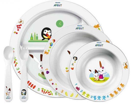 Авент набор тарелка с разделителями + глубокая тарелка большая + глубокая тарелка маленькая + ложка и вилка 65680 (scf716/00), фото №1