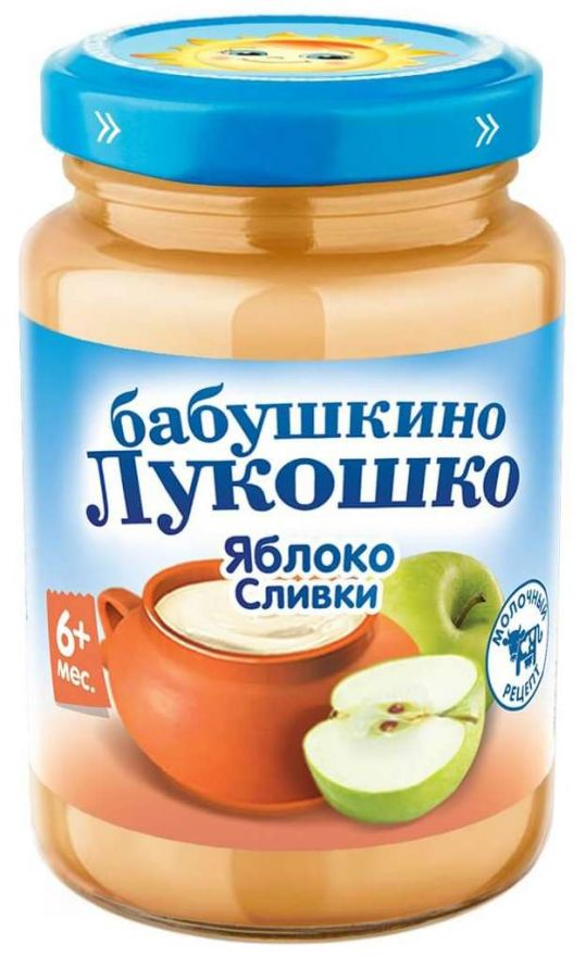 Бабушкино лукошко пюре неженка яблоко/сливки 6+ 200г, фото №1