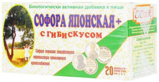 Фиточай софора японская с гибискусом фиточай 1,5г 20 шт. фильтр-пакет соик, фото №1