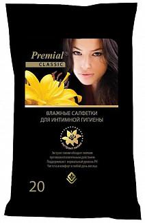 Салфетки премиал (premial) влажные для интимной гигиены для женщин лилия №20