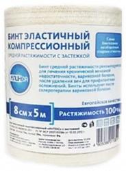 Клинса бинт эластичный компрессионный ср 8х500см (застежка)