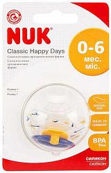 Нук пустышка силиконовая успокаивающая happy days размер 1 0-6 месяцев (10 729 357)