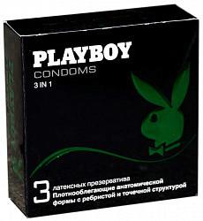 Плэйбой презервативы латексные 3 в 1 3 шт.