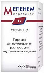 Мепенем 1г 1 шт. порошок для приготовления раствора для внутривенного введения