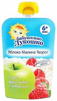 Бабушкино лукошко десерт творожный яблоко/малина/творог 6+ 90г