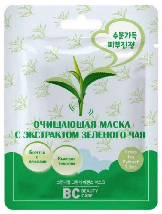 Бьюти кеа маска для лица тканевая очищающая с экстрактом зеленого чая 26мл, фото №1