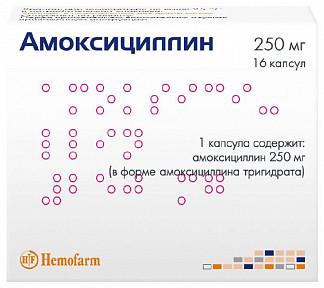 Амоксициллин 250мг 16 шт. капсулы