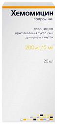 Хемомицин 200мг/5мл 10г порошок для приготовления суспензии для приема внутрь