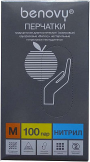 Бенови перчатки смотровые нитриловые нестерильные неопудренные размер m 100 шт.