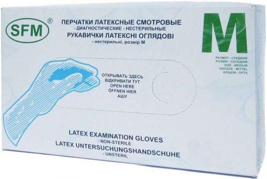 Перчатки сфм (sfm) латексные смотровые нестерильные размер м (7-8) №50 пар, фото №1