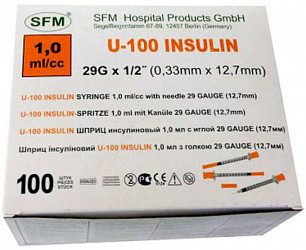 Сфм шприц инсулиновый трехкомпонентный u100 1мл c иглой 29g 0,33х12,7мм 100 шт.