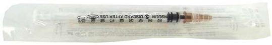 Сфм шприц инсулиновый трехкомпонентный u100 1мл с иглой 26g 0,45х12ммn1, фото №1