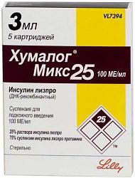 Хумалог микс 25 100ме/мл 3мл 5 шт. суспензия для подкожного введения картридж со шприц-ручкой