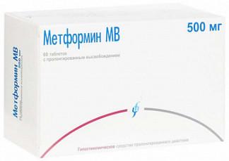 Метформин мв 500мг 60 шт. таблетки с пролонгированным высвобождением