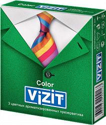 Визит презервативы ароматизированные и цветные 3 шт.