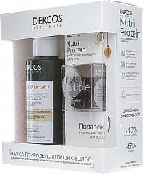 Виши деркос нутриентс шампунь восстанавливающий нутри протеин 100мл+инвизибоббл резинки-браслеты для волос 3 шт.