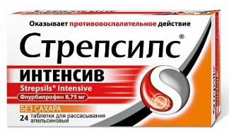 Стрепсилс интенсив 24 шт. таблетки для рассасывания апельсин без сахара