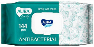 Аура фэмили салфетки влажные антибактериальные с крышкой 144 шт.
