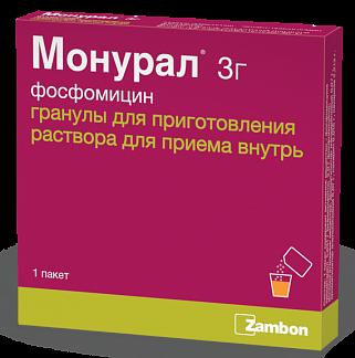 Монурал 3г 1 шт. гранулы для приготовления раствора для приема внутрь