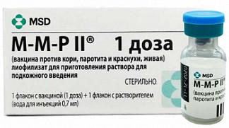 М-м-р ii (вакцина против кори, краснухи и паротита, живая) 1 доза 0,7мл 1 шт. лиофилизат для приготовления раствора для подкожного введения
