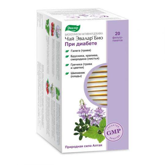 Эвалар био при диабете чай 1,5г 20 шт. фильтр-пакет эвалар, фото №1