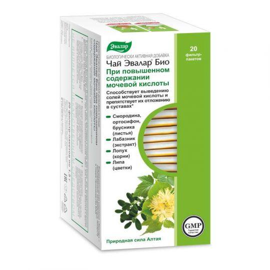 Эвалар био при повышенном содержании мочевой кислоты чай 1,5г 20 шт. фильтр-пакет эвалар, фото №1