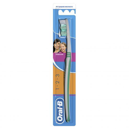 Орал-би 3-effect зубная щетка классик 40 средняя, фото №1
